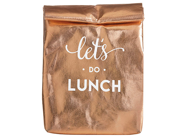 Let's Do Lunch Washable Paper Lunch Bag - Rose Gold