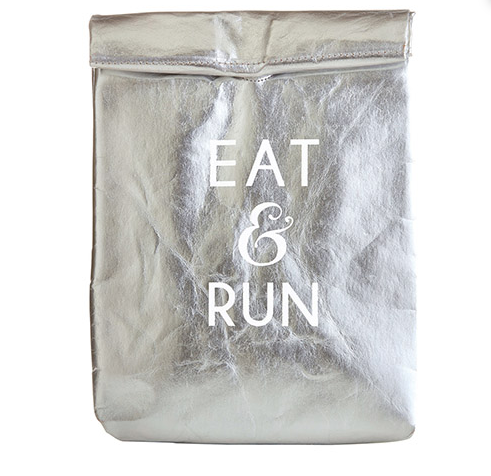 Eat & Run Washable Paper Lunch Bag - Silver