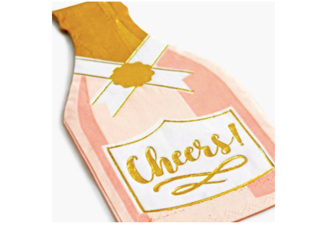 Cheers Champagne Rose' Cocktail Napkins (set of 20)