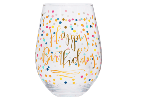 Happy Birthday Stemless Wine Glass