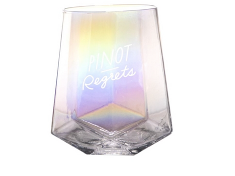 Pinot Regrets Iridescent Stemless Wine Glass