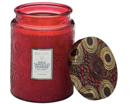 Voluspa Large Embossed Glass Jar Candle - Goji Tarocco Orange