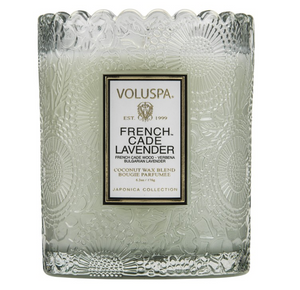 Voluspa Scalloped Embossed Glass Jar Candle - French Cade Lavender (+$6)
