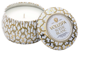Voluspa Petite Decorative Tin Candle - Suede Blanc
