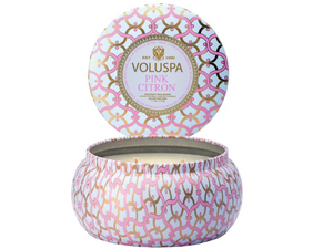 Voluspa Maison Metallo 2 Wick Tin Candle - Pink Citron