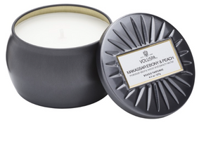 Voluspa Petite Decorative Tin Candle - Makassar Ebony & Peach