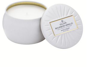 Voluspa Petite Decorative Tin Candle - Bourbon Vanille