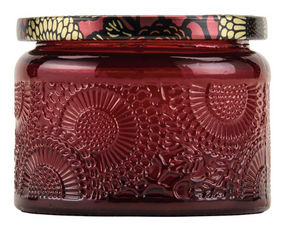 Voluspa Petite Embossed Glass Jar Candle - Goji Tarocco Orange