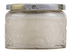 Voluspa Petite Embossed Glass Jar Candle - Panjore Lychee