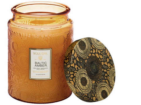 Voluspa Large Embossed Glass Jar Candle - Baltic Amber