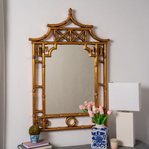 "Gold Pagoda Chinoiserie Mirror - 28"" x 42"""