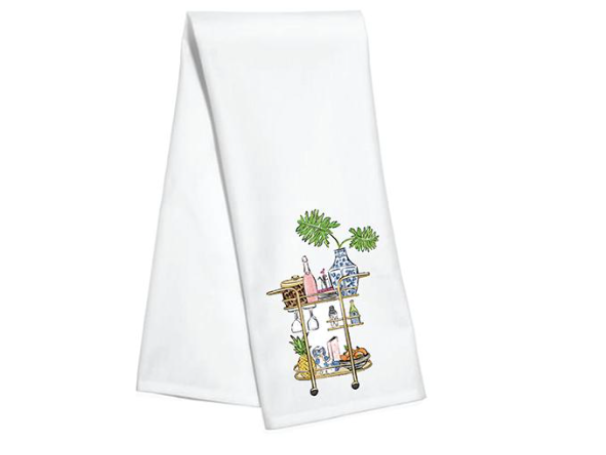Sip Sip Hooray Bar Cart Kitchen Towel by Hayden Gresak