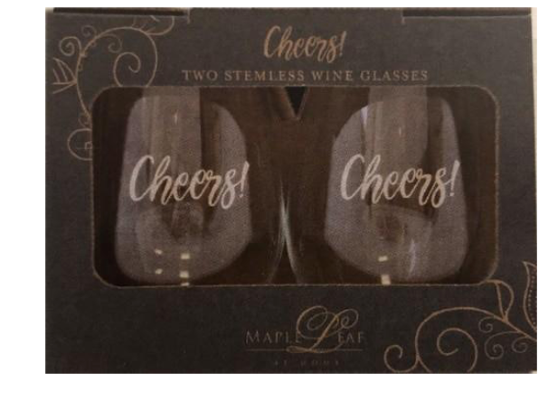 Stemless Wine Glass Gift Set (Etched Glass) - Cheers!