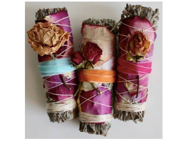 (1) Blue Sage & Roses Smudge Stick (Colors Vary Seasonally)