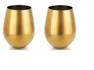 Set of 2 Gold Stemless Wine Glasses - Stainless Steel & Gold Plated (+$15)