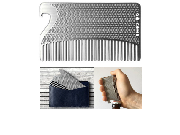 Stainless Steel Bottle Opener Go-Comb | Wallet-Sized Comb