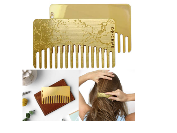 Brass Marble Mirror Go-Comb | Wallet-Sized Comb
