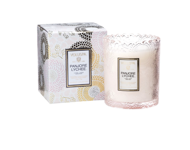 Voluspa Scalloped Embossed Glass Jar Candle - Panjore Lychee (+$6)