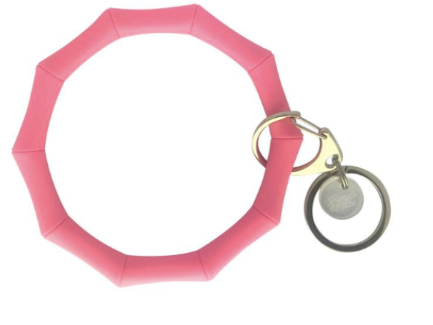 Bamboo Inspired Bangle & Babe Bracelet Keychain - Bright Pink