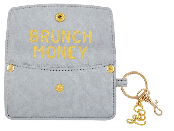 Vegan Saffiano Credit Card Pouch - Brunch Money - Silver