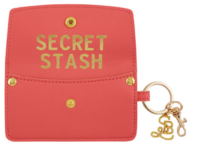 Vegan Saffiano Credit Card Pouch - Secret Stash - Coral Pink