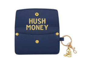 Vegan Saffiano Credit Card Pouch - Hush Money - Navy