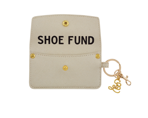 Vegan Saffiano Credit Card Pouch - Shoe Fund - Champagne