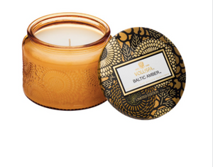 Voluspa Petite Embossed Glass Jar Candle - Baltic Amber