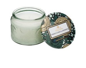 Voluspa Petite Embossed Glass Jar Candle - French Cade Lavender