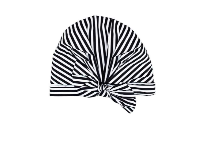 Kitsch Luxe Shower Cap - Black and White Stripes (+$5)