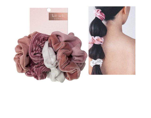 Kitsch Velvet Scrunchies - Blush/Mauve