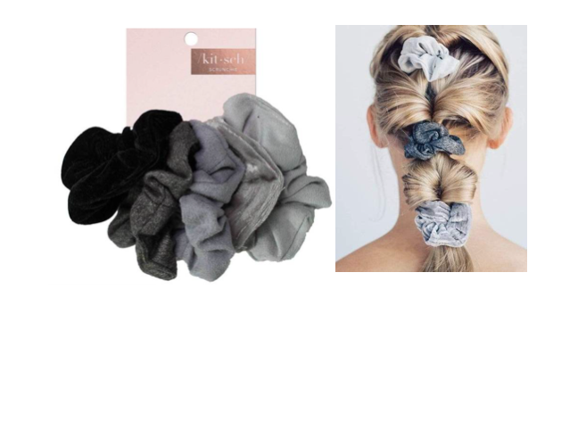 Kitsch Velvet Scrunchies - Black/Grey