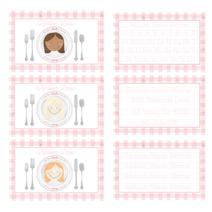 Personalized Girls Watercolor Portrait Placemat with Tracing Activity