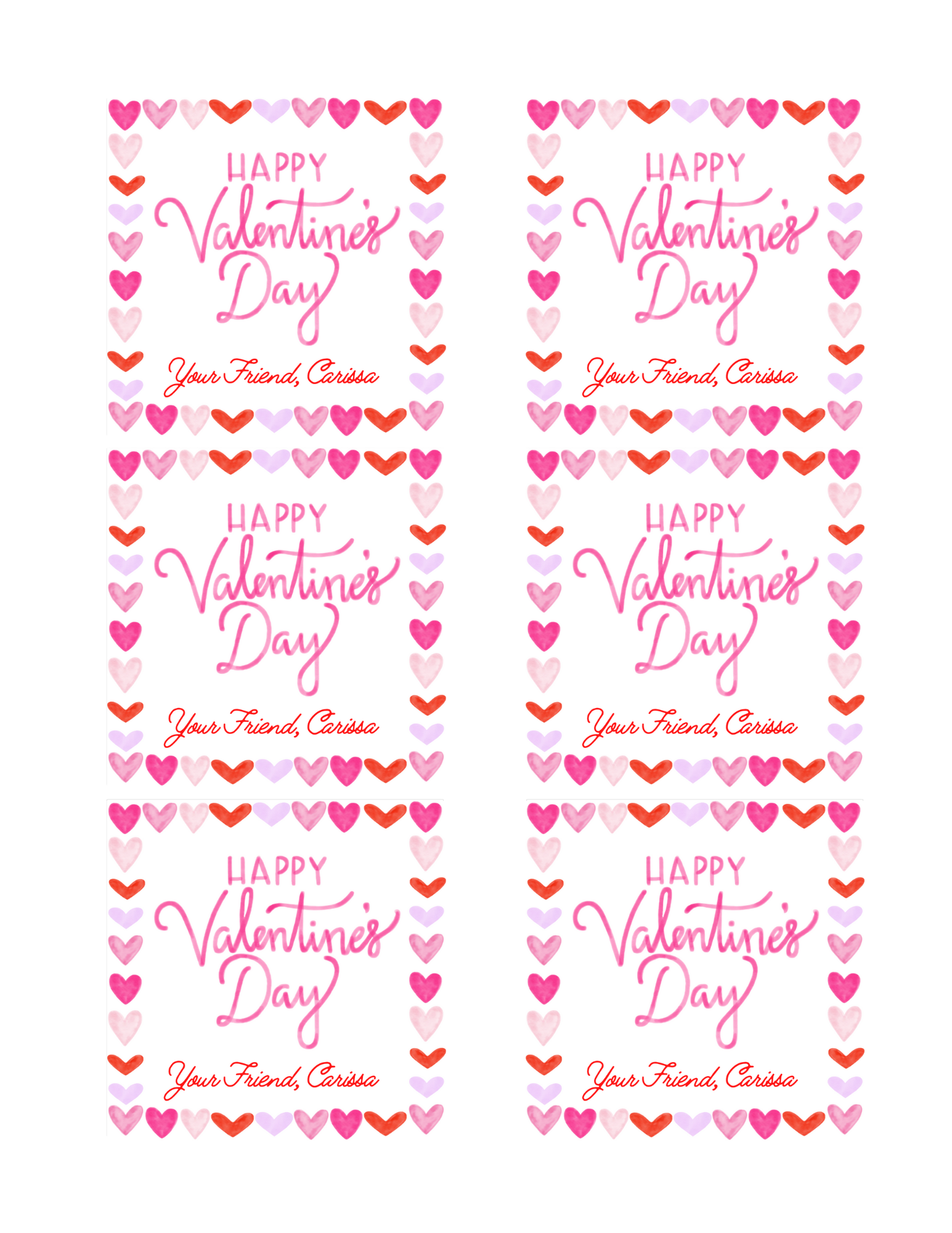 Digital Download - Valentine's Day Sticker or Gift Tag - 3x3 - Happy Valentine's Day Hearts Border