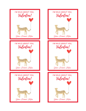 Digital Download - Valentine's Day Sticker or Gift Tag - 3x3 - I'm Wild About You, Valentine