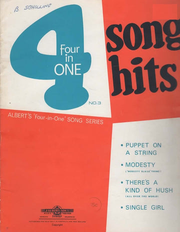 VARIOUS - FOUR IN ONE SONG HITS NO. 3 SHEET MUSIC