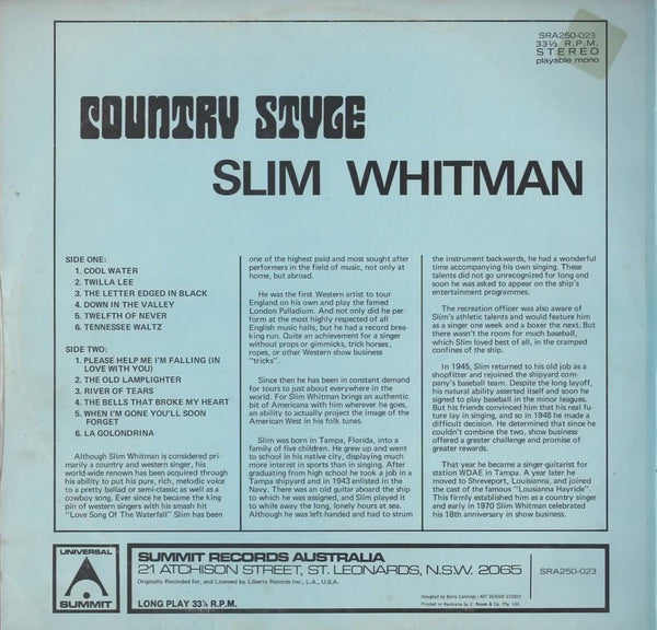 SLIM WHITMAN - COUNTRY STYLE - Vinyl Pre-Loved