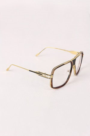 Two Tone Angular Clear Lens Glasses