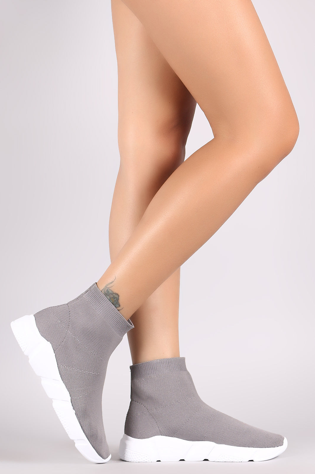Sweater Knit Almond Toe Sock Sneaker Boots