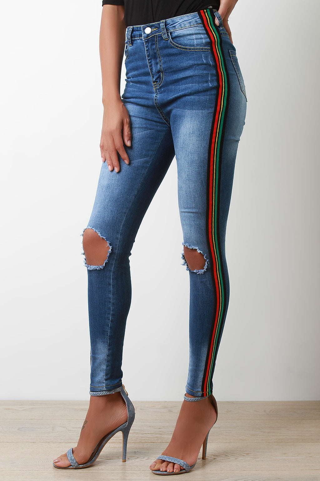 Multi-Color Striped Ripped High Waist Jeans