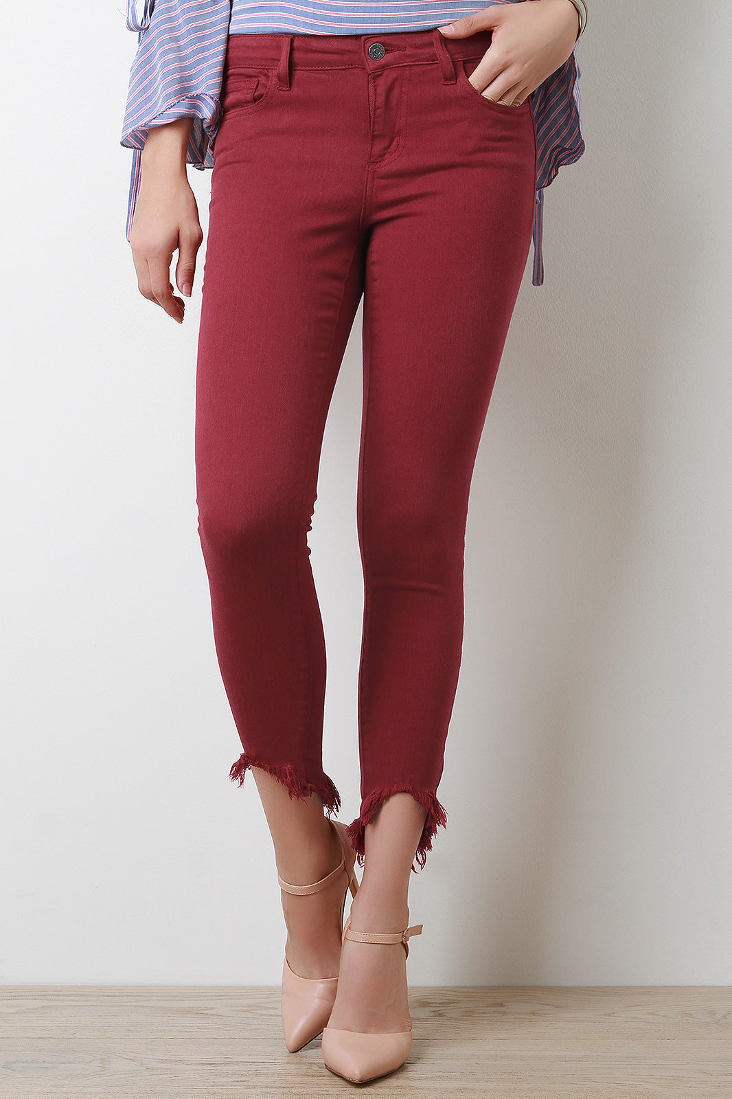 Frayed High Ankle Skinny Denim Jeans