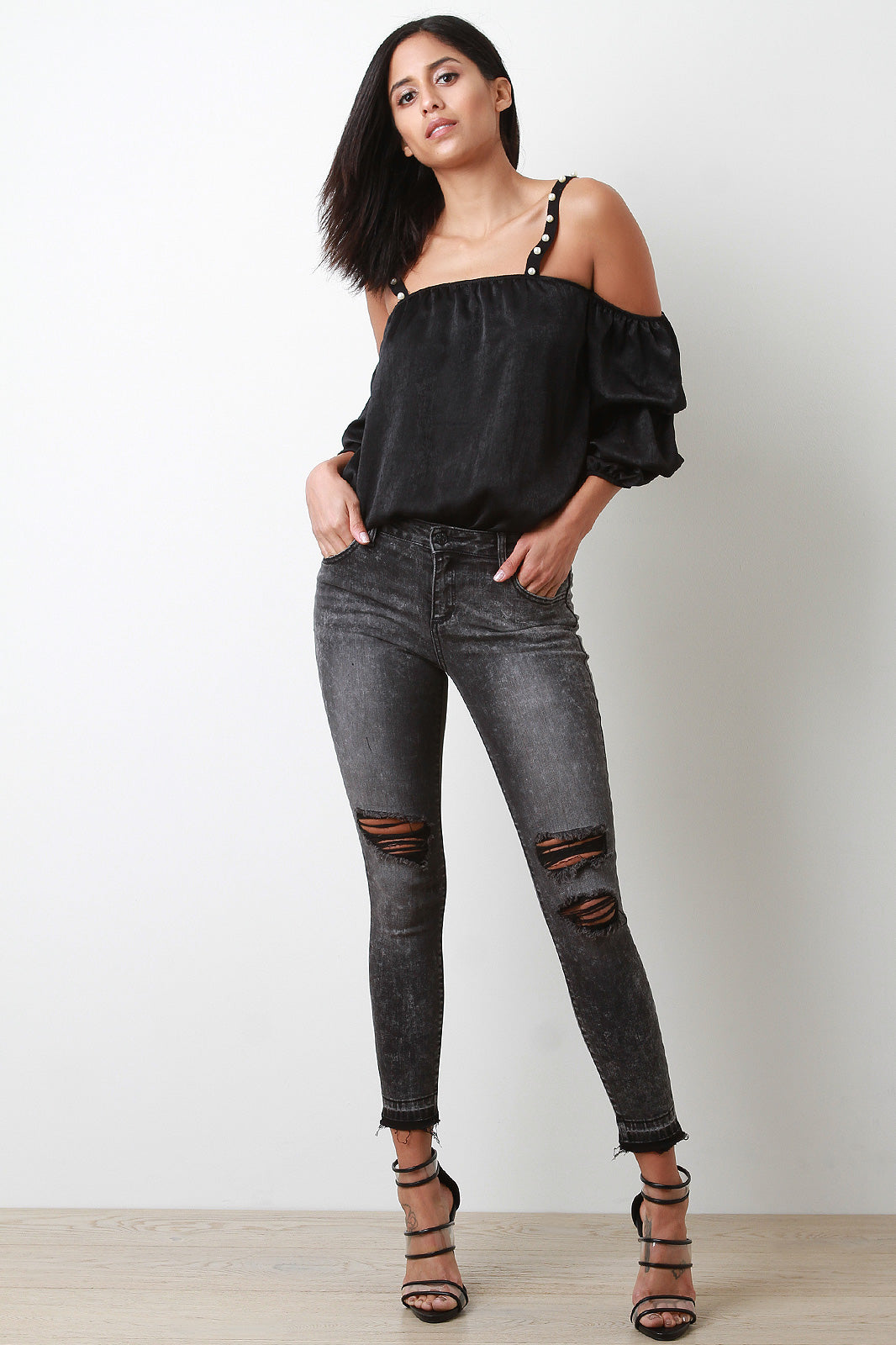 Faded Distressed Mid Rise Skinny Jeans