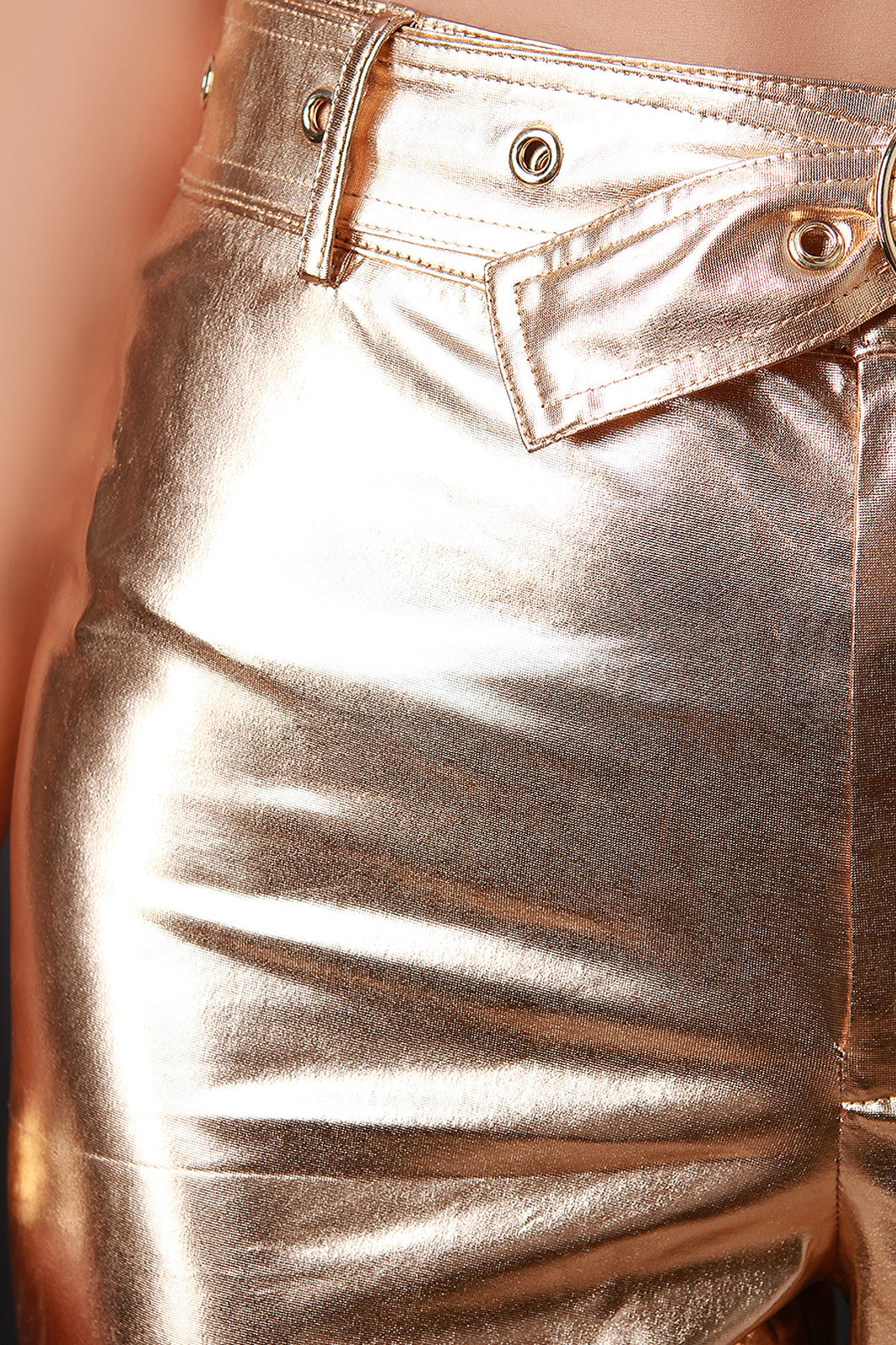 Metallic Belted Pants