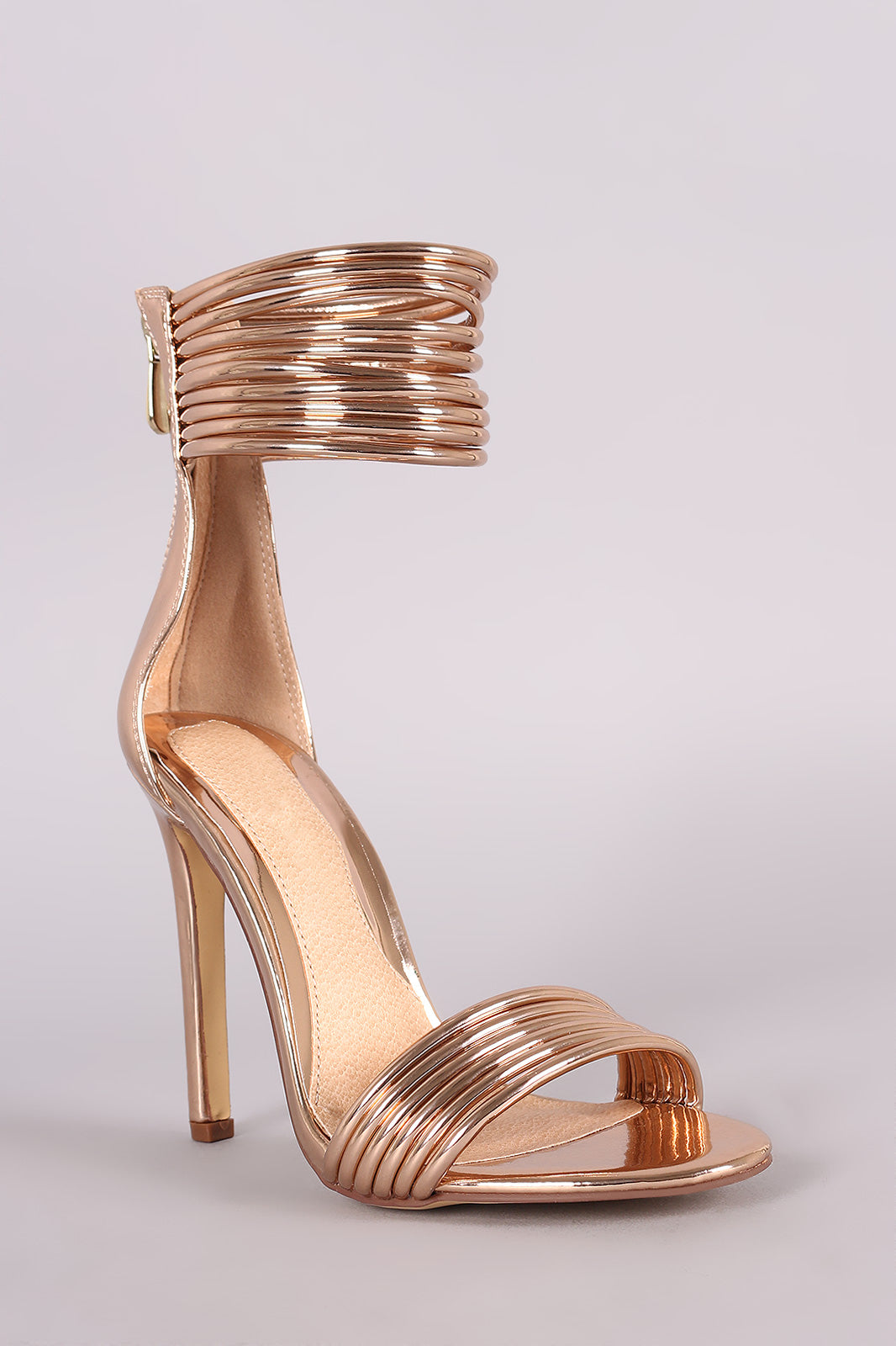 Open Toe Strappy Ankle Cuff Stiletto Heel