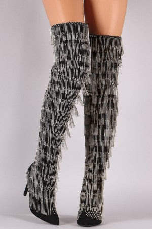 Chain Fringe OTK Stiletto Boots