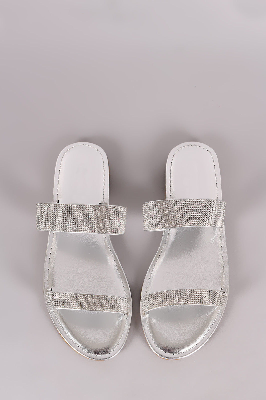Rhinestone Embellished Double Band Slide