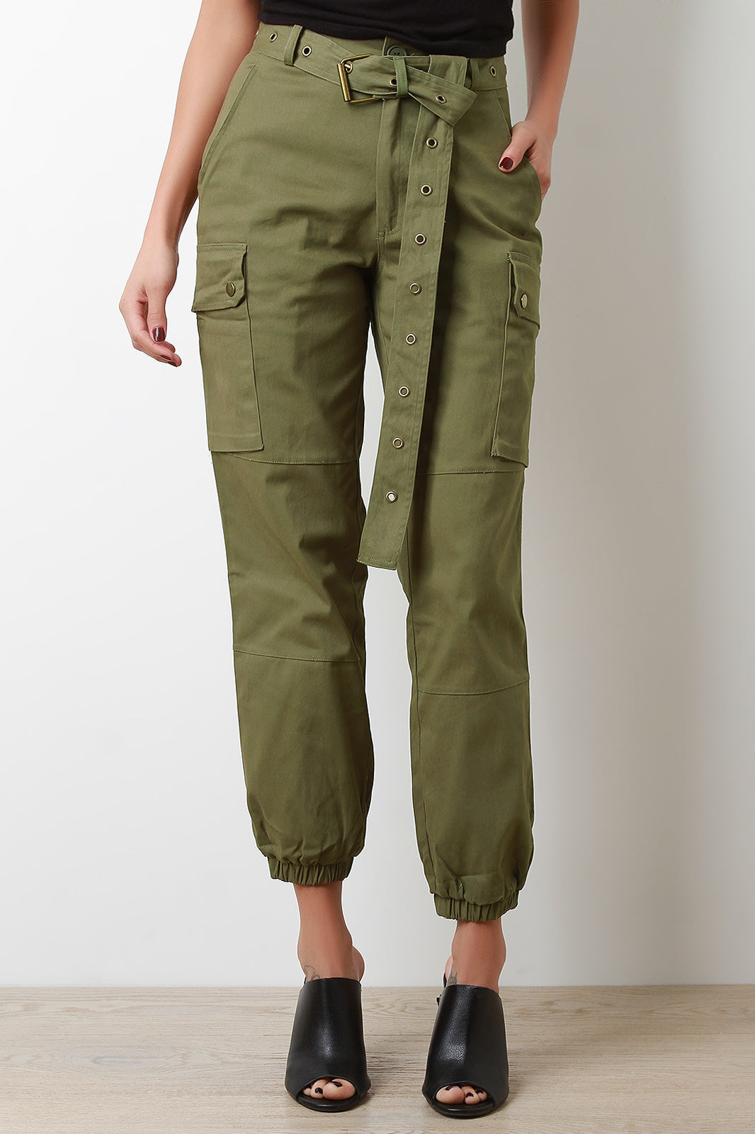 High Waisted Eyelet Belted Cargo Pants
