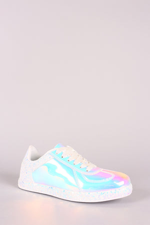 Holographic Low Top Lace Up Sneaker
