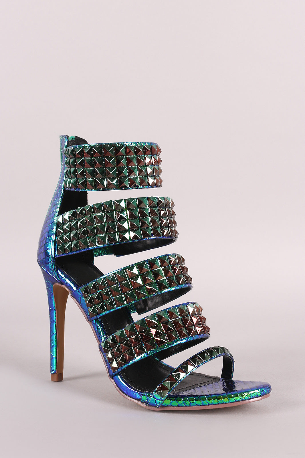 Holographic Snake Embossed Stiletto Heel