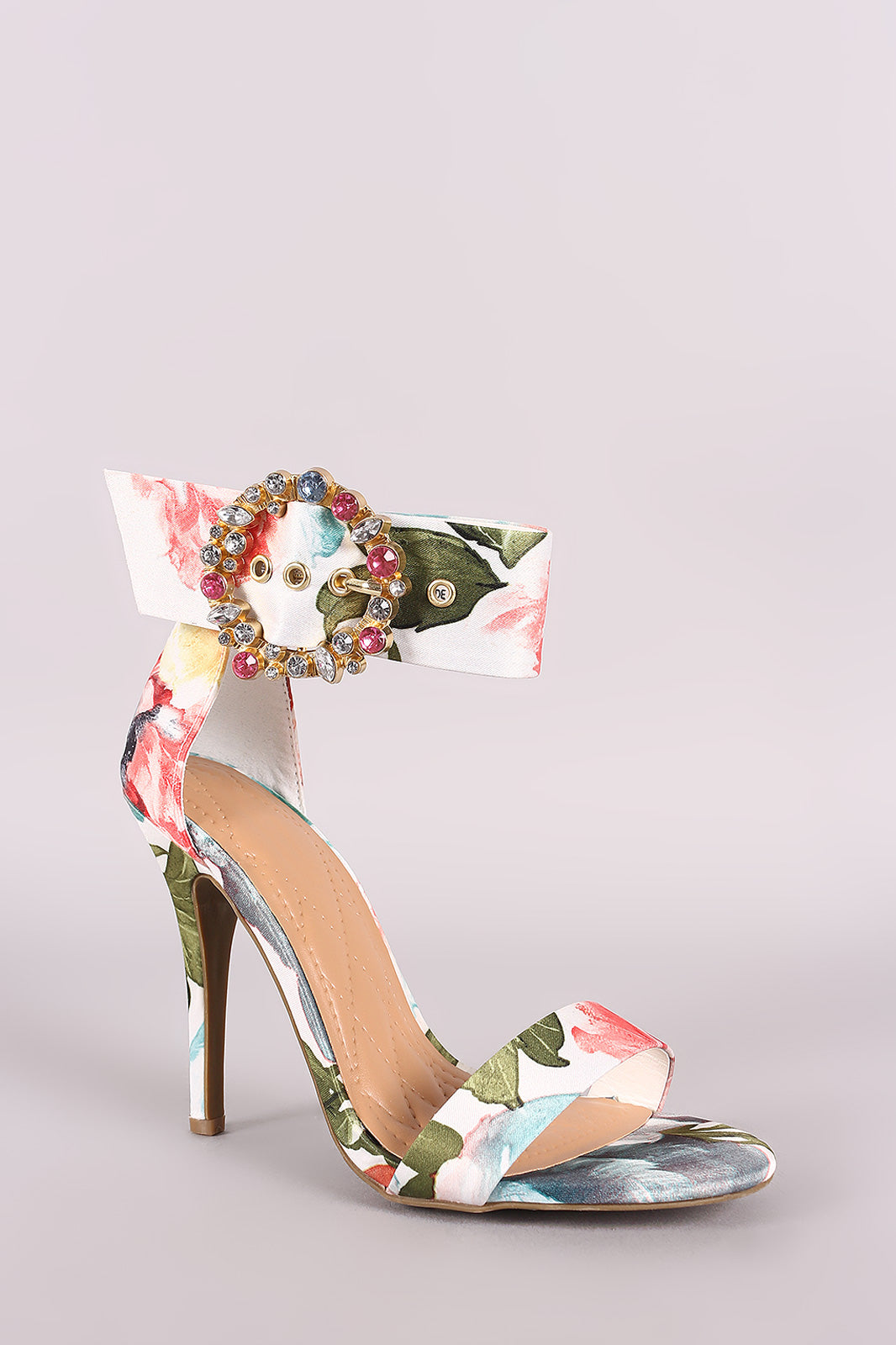 Jewels Embellished Buckle Strap Heel